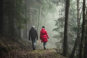 couple walking in the forrest